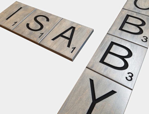 Wood Engraved Scrabble Tiles (Gray Stained)