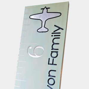 Airplane Engraved Wood Growth Chart