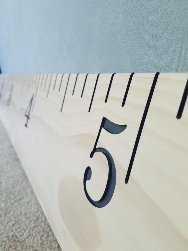 Engraved Growth Chart - Antique White with Gray